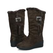 内增高雪地靴女中筒加厚加绒棉鞋 坡跟厚底学生棉靴子 U&R冬季新款