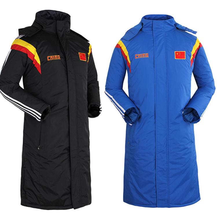 中国家队足球冬训大衣儿童运动大衣男长款棉衣风衣冬保暖训练大衣