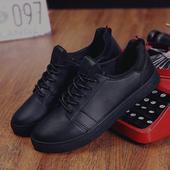冬季男士休闲运动鞋黑色板鞋冬天韩版学生潮流男鞋阿甘鞋子男皮鞋