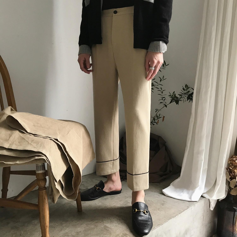 【JM】优雅复古风 钟爱款 版型点赞 杏色宽松直筒九分西裤 男女款