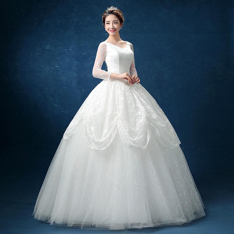 2017新款春夏季韩式新娘结婚婚纱礼服蕾丝中袖齐地大码显瘦女装