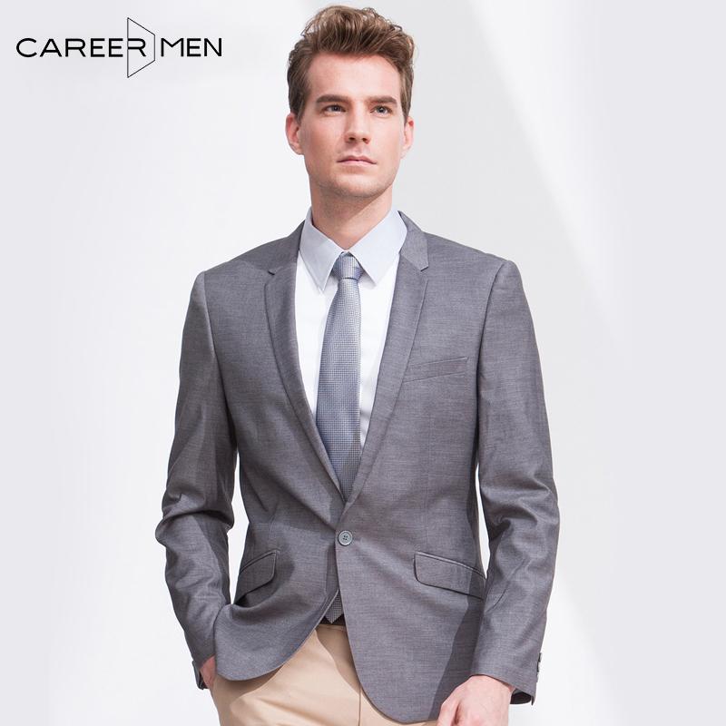 ZYMEN男装西服外套商务绅士正装 韩版修身灰色男士休闲小西装外套