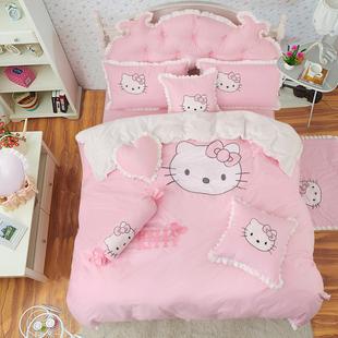 韩版床罩床裙式四件套公主儿童绣花kt猫卡通被套1.5/1.8m床上用品