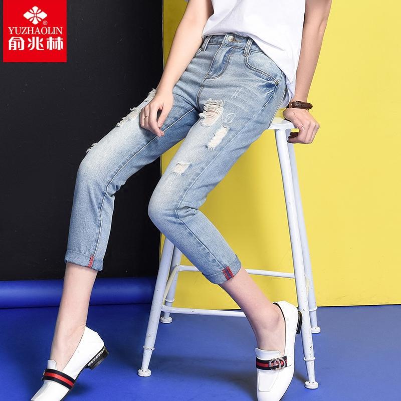 九分裤宽松紧身高腰学生破洞弹力夏季牛仔裤铅笔小脚