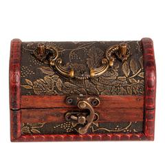 聚缘阁中式小木盒复古木质首饰盒元宝玉石水晶饰品收纳盒风水摆件