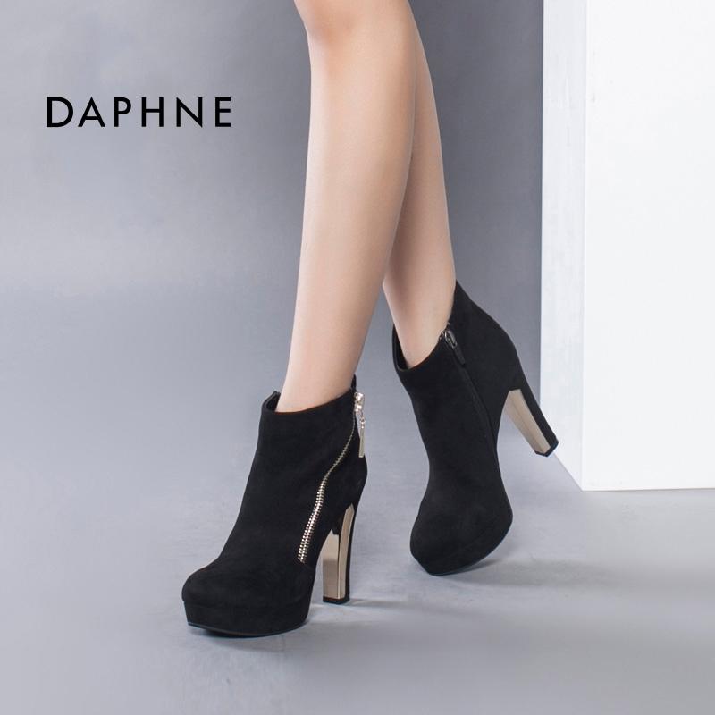 Daphne/达芙妮商场同款舒适防水台超高跟女鞋 欧美时尚绒面及踝靴