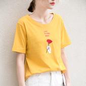 2017春夏季女学生新款复古绣玫瑰花朵宽松打底衫圆领短袖t恤上衣