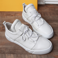 德克森秋季真皮运动休闲鞋小白鞋男士白色板鞋厚底大码鞋子男潮鞋