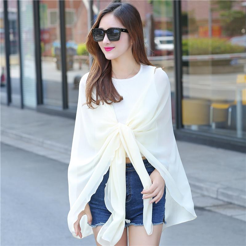 防曬披肩絲巾夏季沙灘圍巾長款雪紡衫無袖多功能外套
