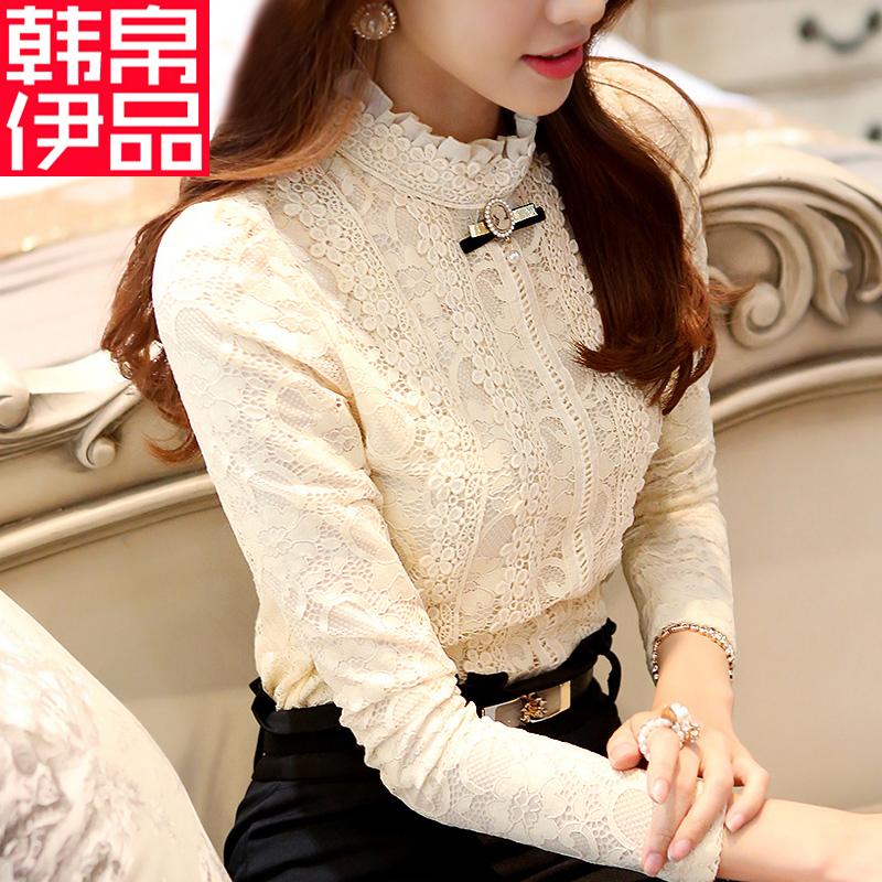 加厚蕾丝打底衫2015秋装新款韩版女装保暖秋冬上衣加绒长袖雪纺衫