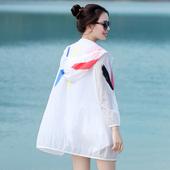 防晒衣女中长款2017夏季新款韩版长袖防晒服大码白色沙滩宽松外套