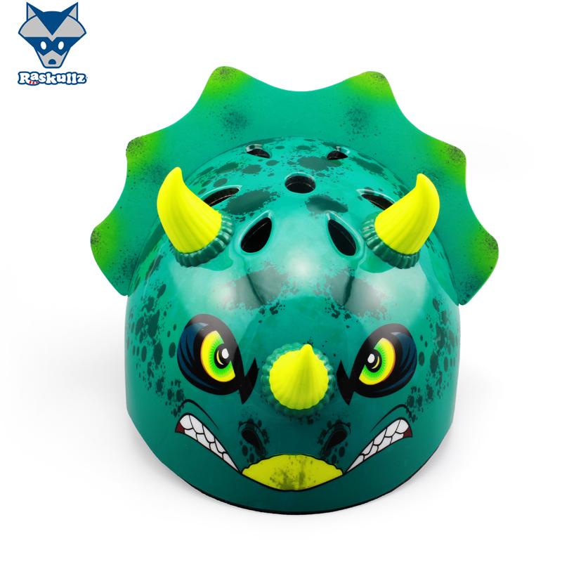 美国raskullz莱斯狐3D三角恐龙 儿童头盔 自行车骑行溜冰轮滑护具