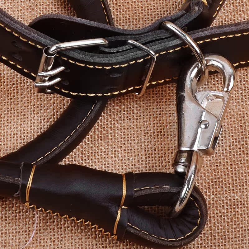 狗链子 宠物生活用品狗狗项圈牵引绳 边牧金毛中大型犬皮质狗绳