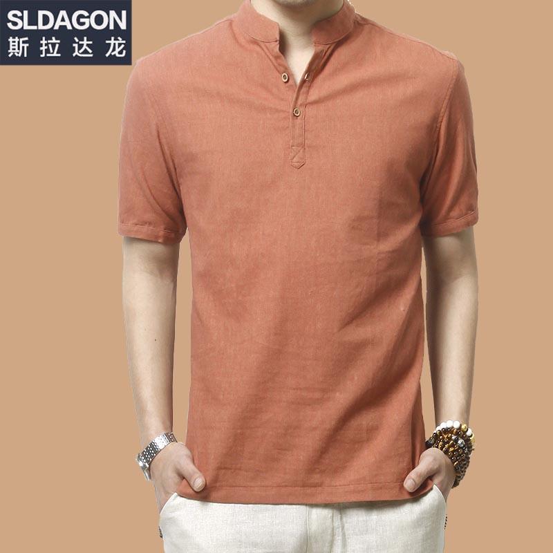 斯拉达龙夏季短袖亚麻衬衫男装中国风复古立领衬衣大码棉麻上衣薄