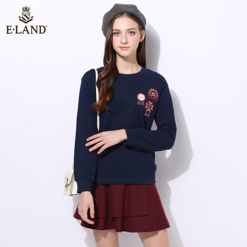 ELAND16年秋冬新品桃心绣字素色圆领卫衣EEMT64T53R专柜正品