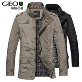 2017男装宽松大码夹克立领jacket中长款加棉衣服商务休闲胖子外套