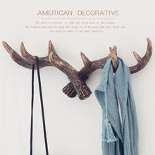 美式复古鹿角装饰壁挂衣帽架创意服装店玄关门口墙饰墙上钥匙挂钩