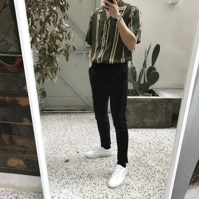 【JM】复古风 丝滑质感 竖条纹 西装领 绿/蓝 短袖衬衫 男女同款