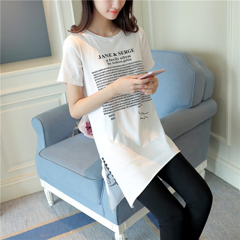 女装恤女韩版字母印花纯棉短袖不规则下摆体恤长款