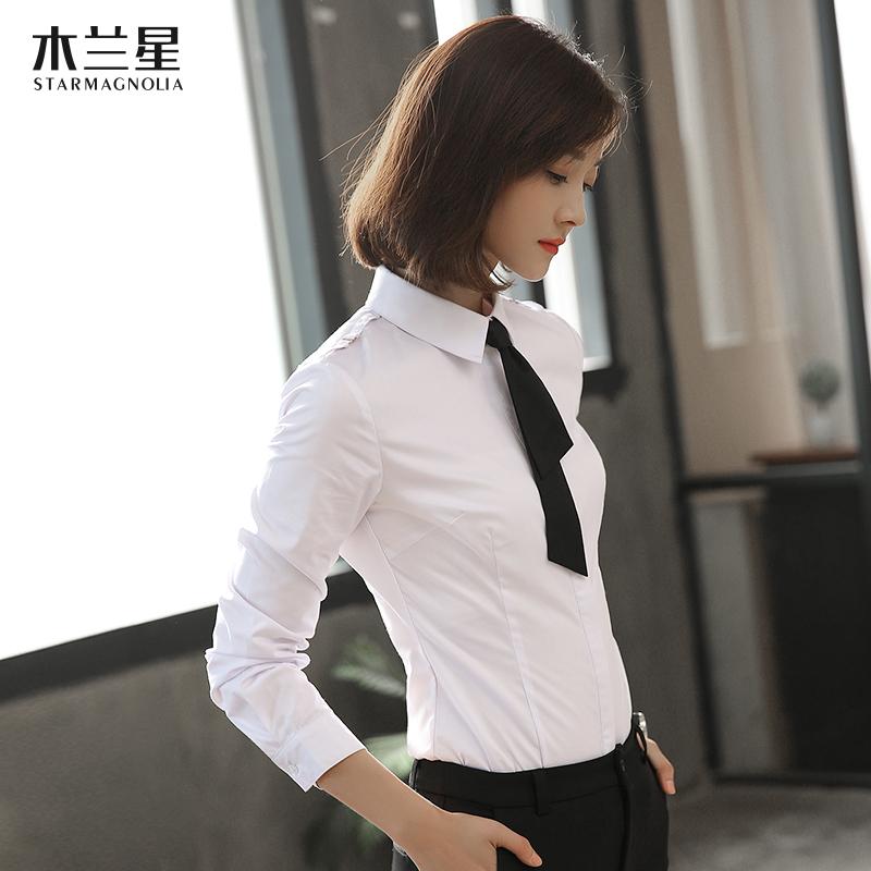 白衬衫女长袖领带面试正装 工作制服修身气质白色衬衣女士职业装