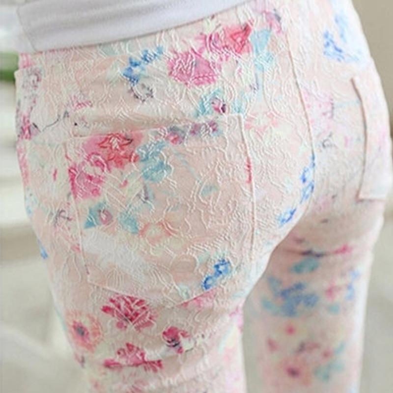夏季薄款松紧腰碎花女裤子修身显瘦女士打底九分裤弹力蕾丝小脚裤