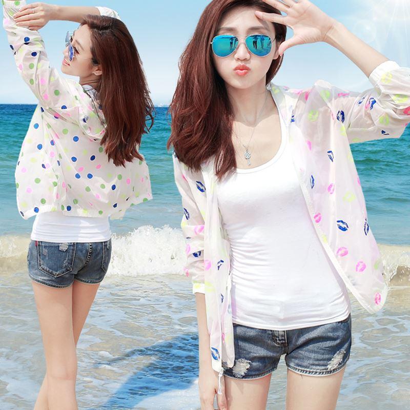 2017新款夏季超薄透气防晒衣女装沙滩户外服短款外套百搭空调衫