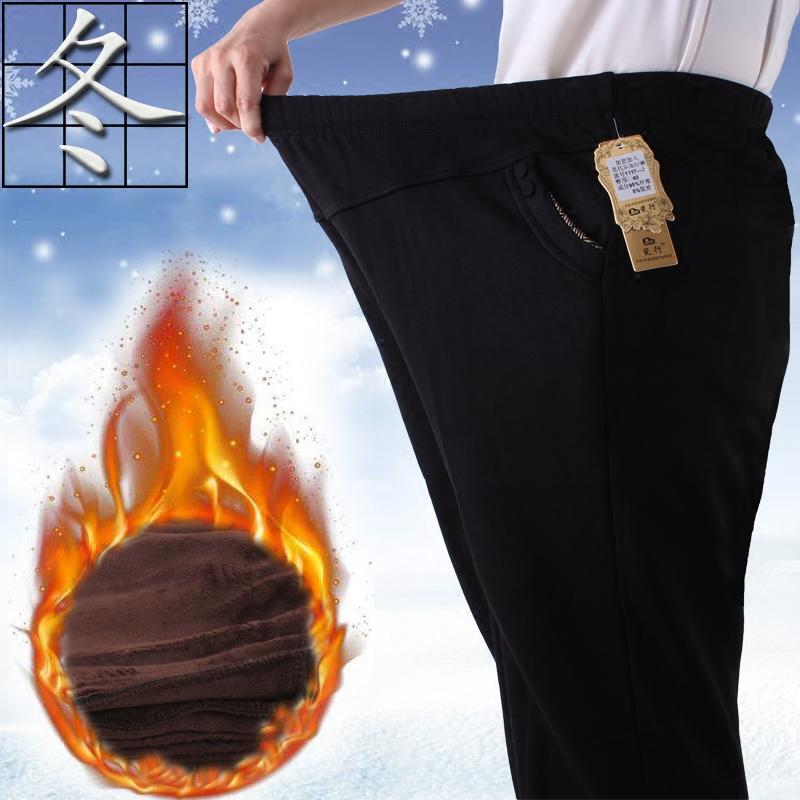 冬季中老年人裤子女松紧腰加绒加厚外穿加肥加大码宽松特体200斤