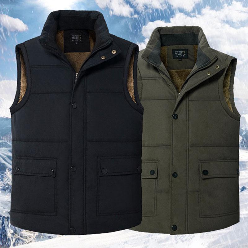 冬季中老年马甲男加绒加厚宽松立领老人坎肩背心棉马夹爸爸装外套