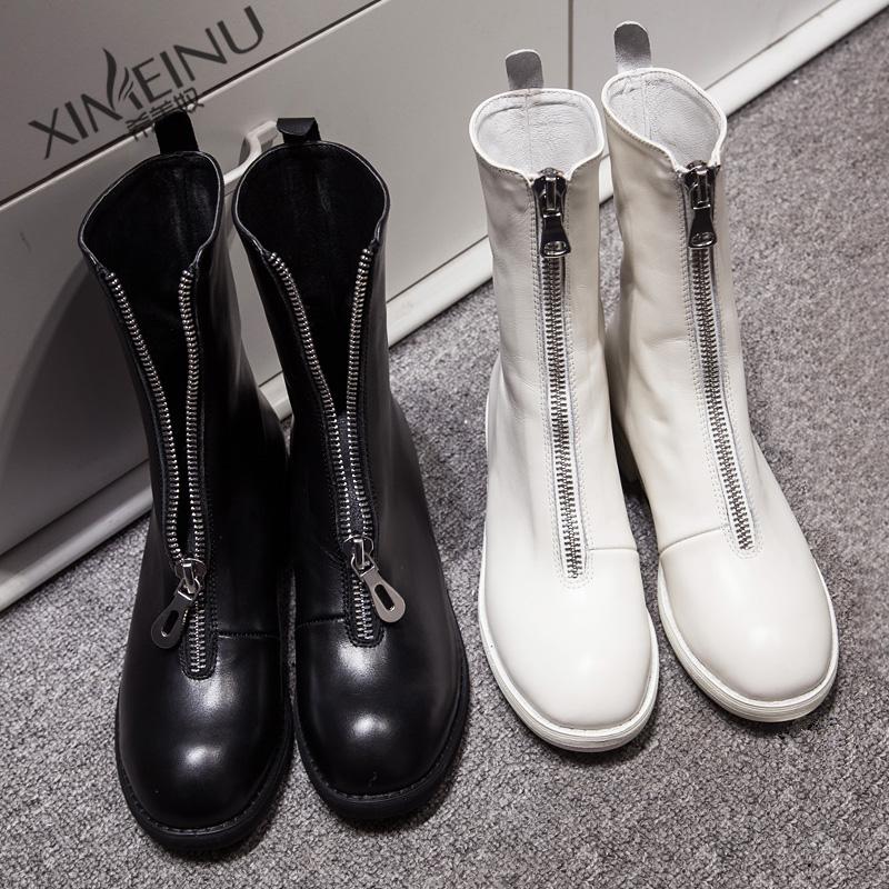 欧洲真皮靴子女中黑色马丁筒靴低拉链白色