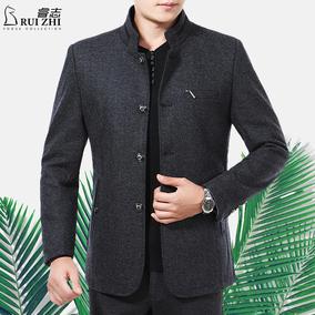 2017春季新款立领羊毛呢夹克男中年休闲男装修身秋冬装男士外套