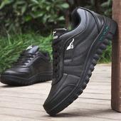 耐磨防滑防水防油厨师酒店黑色皮鞋 男学生休闲板鞋 全黑厚底运动鞋