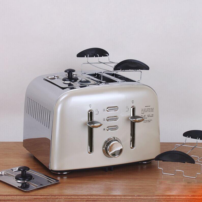 出口英国多士炉食品级不锈钢吐司机 烤面包片机家用全自动2或4片