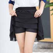 17年新品防走光雪纺A字显瘦半身裙带安全裤双层下摆百褶大码女裙