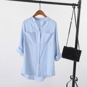 蓝衬衫女长袖2017夏装新款韩版宽松休闲百搭中长款棉麻打底衬衣寸