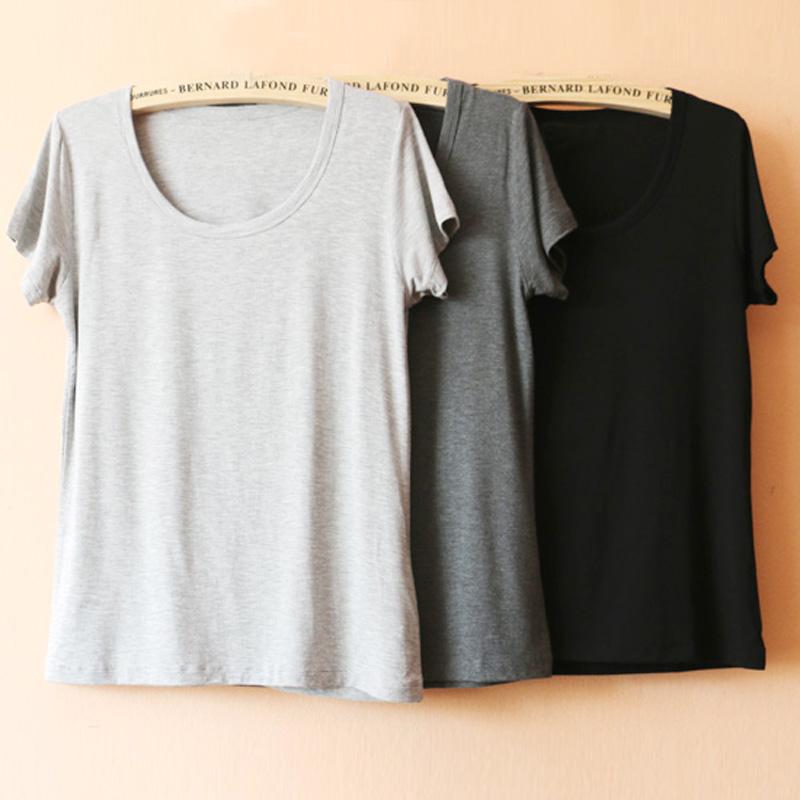可外穿 舒适睡衣家居服莫代尔休闲纯色夏薄款女士品质短袖