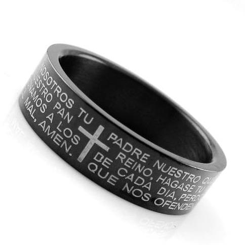 日韩饰品 黑色钛钢戒指 圣经十字架戒指男生 钛钢指环男士 时尚