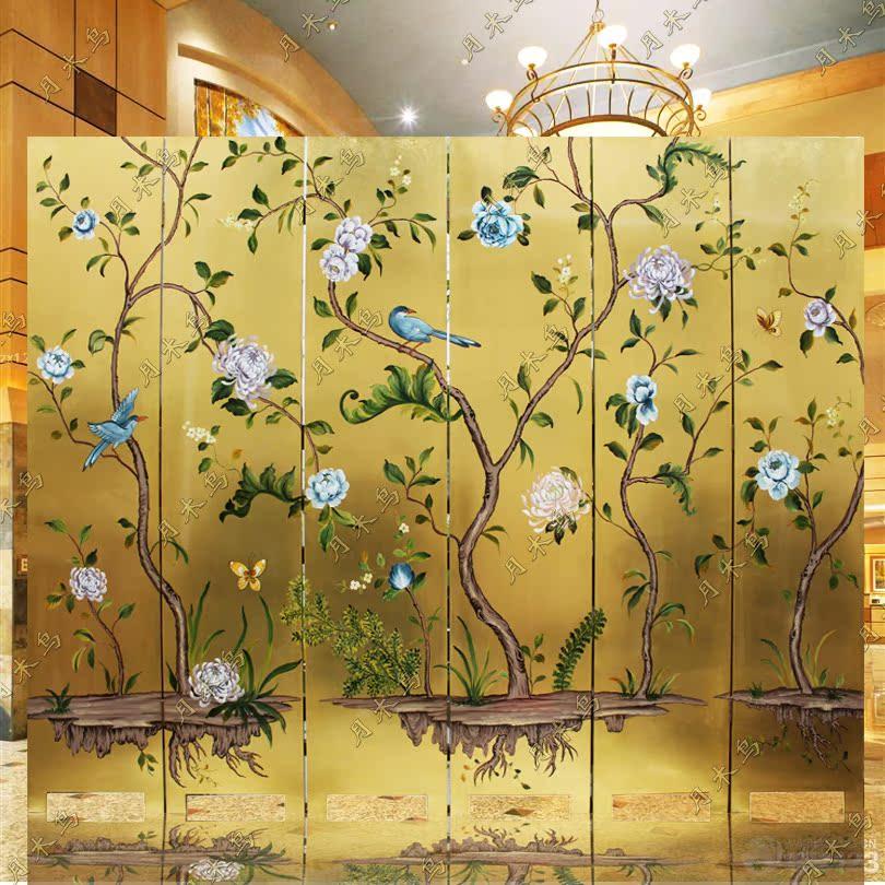 漆画手绘玄关隔断简欧背景墙酒店家庭新中式进口金箔