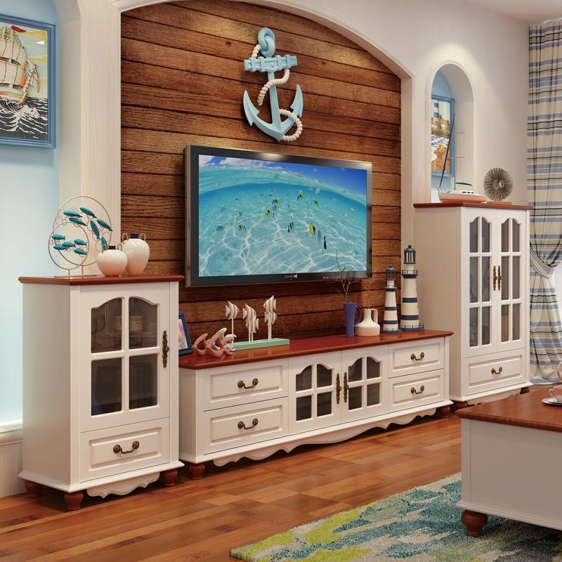 地中海电视柜茶几组合套装 欧式客厅实木美式风格家具