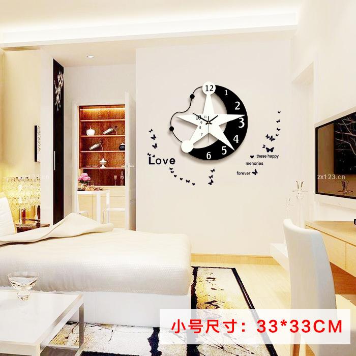 创意挂钟客厅实木相片墙时尚简约现代钟表照片墙欧式