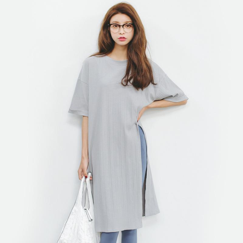 圆领短袖黑白灰色女装纯棉春夏中宽松开叉长款