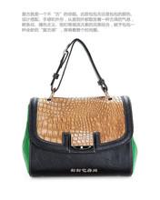 手提包 绿色 包邮 对我说谎试试 鳄鱼纹两用包 尹恩惠同款 韩剧