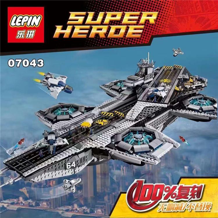 乐高76042漫威超级英雄复仇者联盟 神盾局航母拼装积木乐拼07043