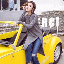 【天天特价】韩版秋冬长袖中长款宽松侧开叉套头打底针织衫上衣女