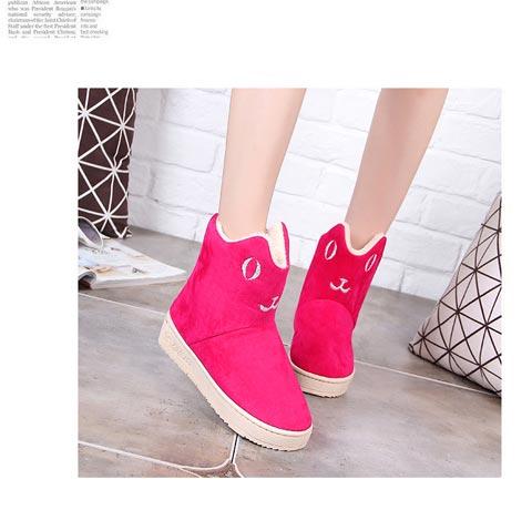 冬季加绒保暖雪地靴圆头纯色女中靴女鞋防滑耐磨时尚女棉拖鞋包邮
