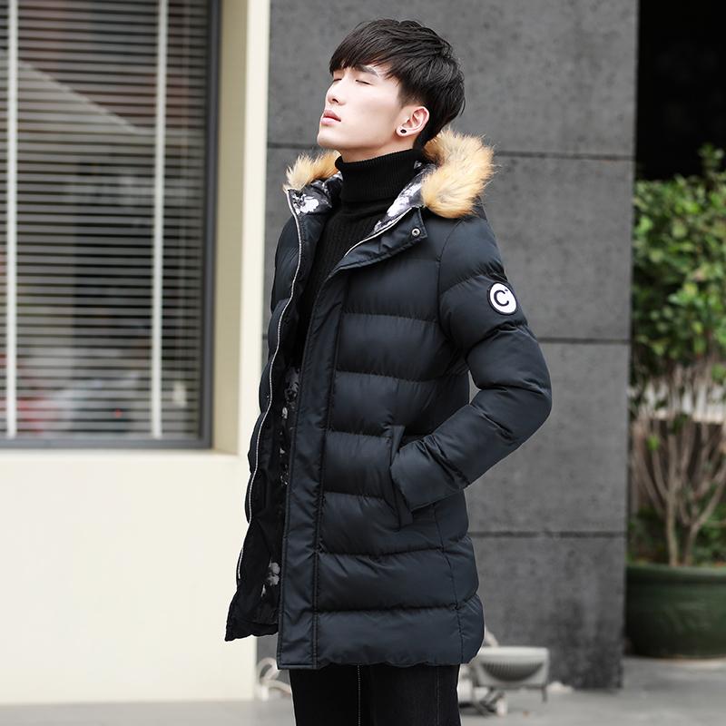 中长款冬季加厚棉衣男青少年棉服外套学生冬装韩版连帽棉袄修身潮