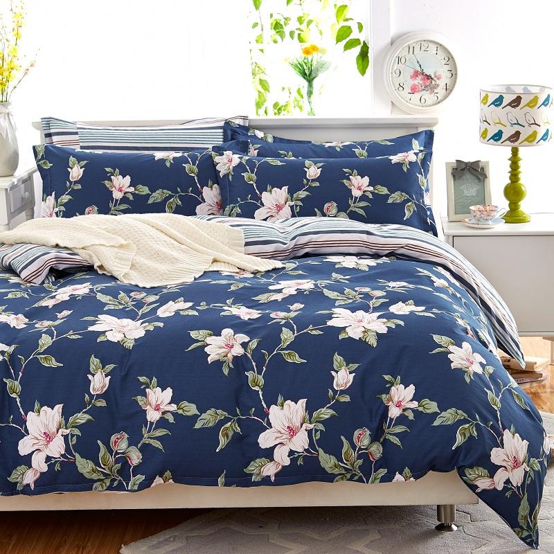 純棉被套件套米床單床上用品斜紋全棉四件套簡約 安米娜