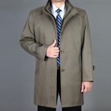秋冬季中老年男装棉风衣中长款商务免烫爸爸装保暖外套中年男棉衣
