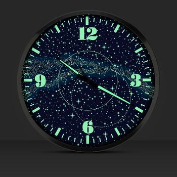 14英寸银河夜光挂钟静音时尚石英