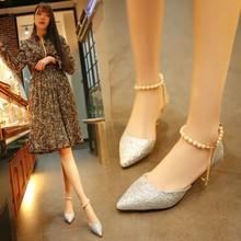 凉鞋女夏细跟尖头亮片珍珠一字带高跟鞋水钻浅口时尚性感女士单鞋