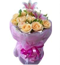 香槟玫瑰香水百合花束女人节通州顺义昌平大兴北京鲜花订花同城速